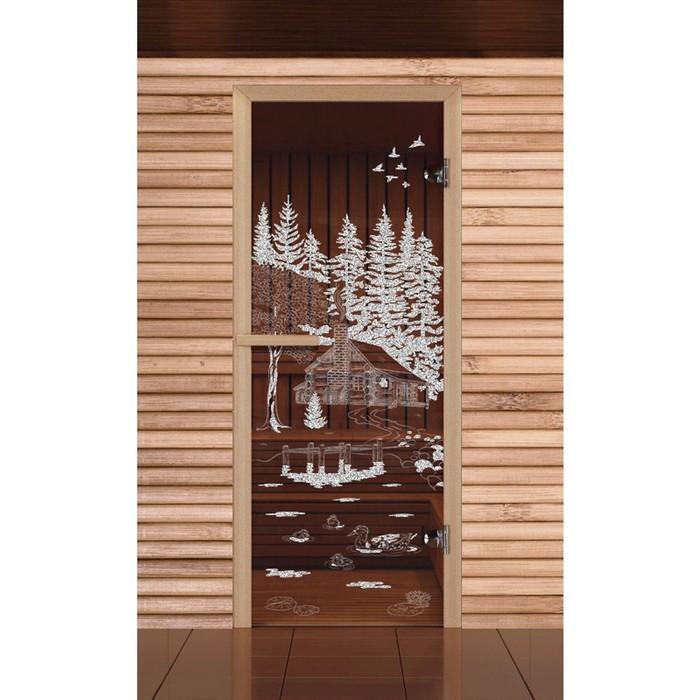 """Дверь для бани и сауны """"Банька в лесу"""", бронза, 6мм, УФ-печать, 190х70см, Добропаровъ"""