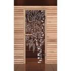 """Дверь для бани и сауны """"Березка"""", бронза, 6мм, УФ-печать, 190х70см, Добропаровъ"""