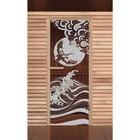 """Дверь для бани и сауны """"Журавль"""", бронза, 6мм, УФ-печать, 190х70см, Добропаровъ"""