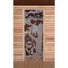 """Дверь для бани и сауны """"Мишка в лесу"""", сатин, 6мм, УФ-печать, 190х70см, Добропаровъ"""