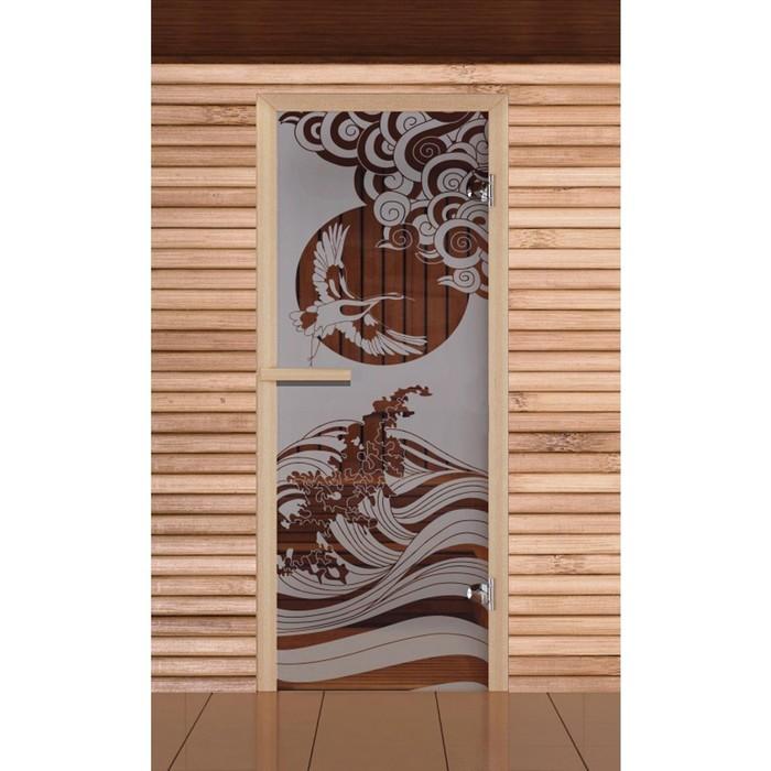 """Дверь для бани и сауны """"Журавль"""", сатин, 6мм, УФ-печать, 190х70см, Добропаровъ"""