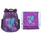 Рюкзак каркасный Hummingbird 32*32*21 + мешок для обуви для девочки «Единорог», сиреневый 34ТК