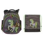 Рюкзак каркасный Hummingbird 37*32*18, для девочки «Пони», серый 37ТК