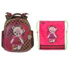 Рюкзак каркасный Hummingbird 37*32*18, для девочки «Мишка», коричневый/розовый 42ТК