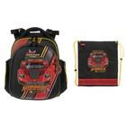 Рюкзак каркасный Hummingbird 37*32*18, для мальчика «Машина», чёрный/красный 43ТК