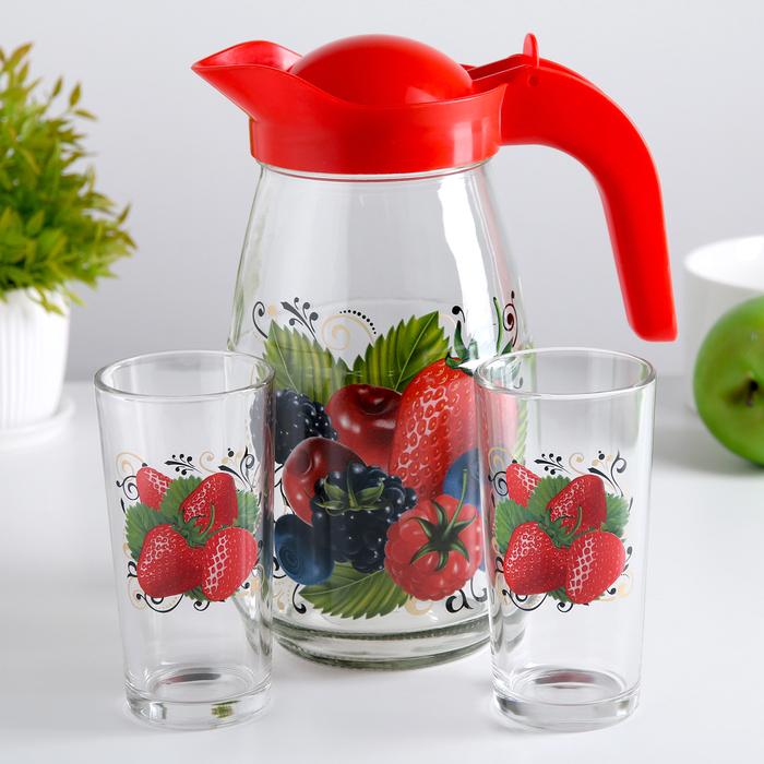 """Набор питьевой """"Ягодный фреш"""", 3 предмета: кувшин 1,5 л, 2 стакана 250 мл"""