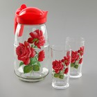"""Набор питьевой """"Роза"""", 3 предмета: кувшин 1,5 л, 2 стакана 250 мл"""