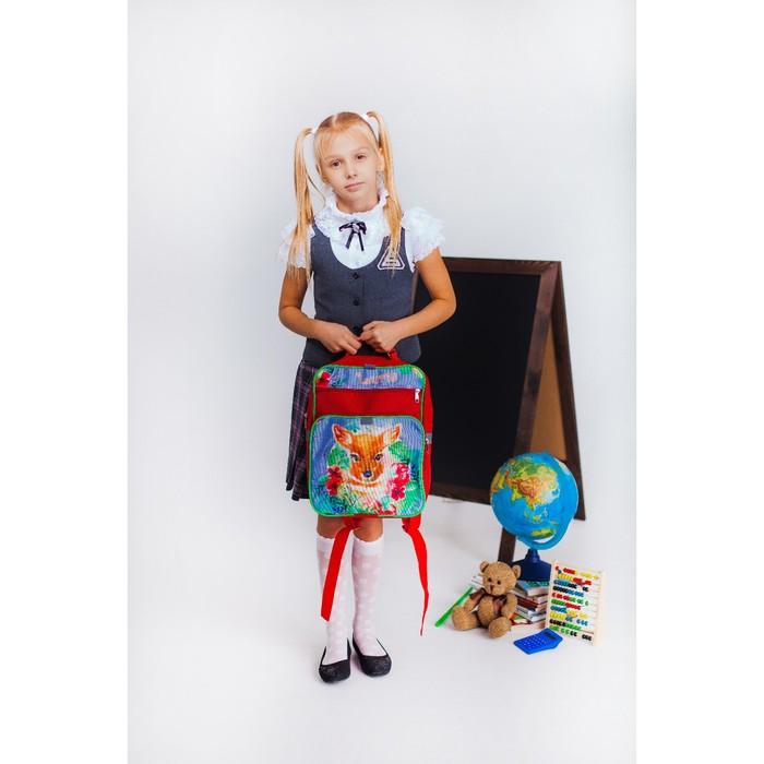 Рюкзак школьный, 2 отдела на молниях, 2 наружных кармана, цвет красный - фото 405942975
