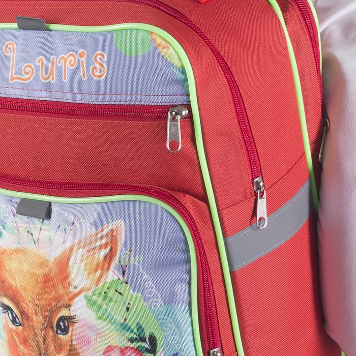 Рюкзак школьный, 2 отдела на молниях, 2 наружных кармана, цвет красный - фото 405942973