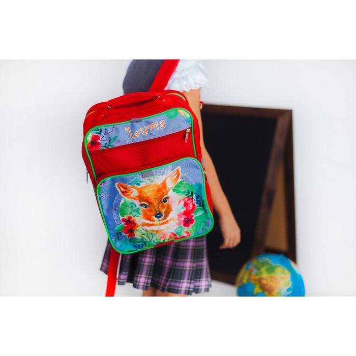 Рюкзак школьный, 2 отдела на молниях, 2 наружных кармана, цвет красный - фото 405942974