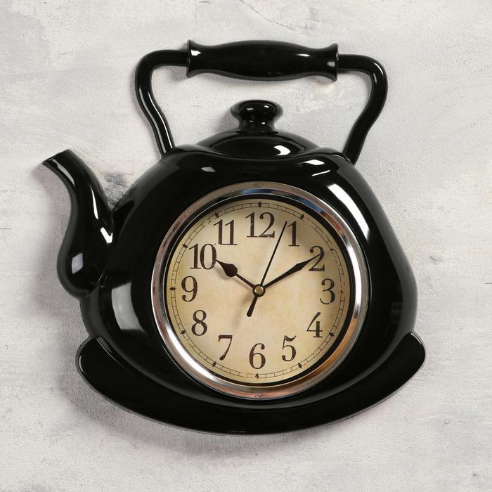 """Часы настенные, серия: Кухня, """"Чайник"""", черный, 25х29 см"""