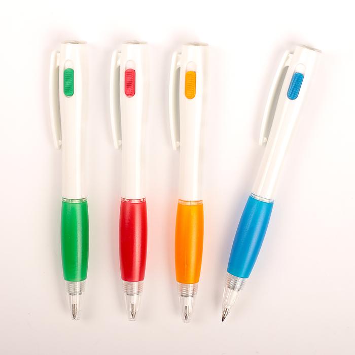 Ручка шариковая-прикол, «Фонарик», с резиновым держателем, МИКС