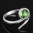 """Кольцо """"Муссон"""", безразмерное, цвет тёмно-зелёный в серебре"""