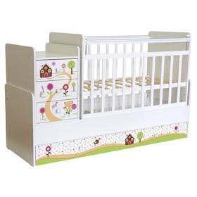 Детская кровать-трансформер «Фея 1100», цвет белый «Пряничный домик»