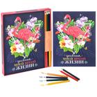 """Подарочный набор """"Пусть ярким будет каждый день"""": смешбук с раскраской и карандаши, 6 шт."""