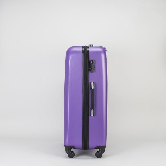 """Чемодан большой на молнии 28"""", 1 отдел, 4 колеса, кодовый замок, цвет фиолетовый - фото 610730"""