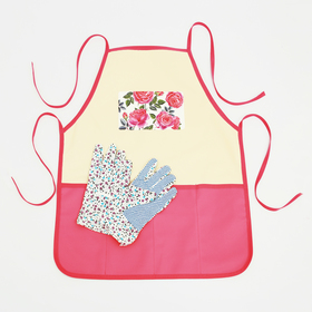 "Set ""Blooming happiness"" garden apron (52 x 62), gloves"