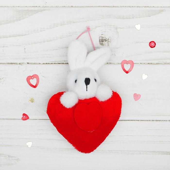 """Мягкая игрушка-подвеска """"Зайка"""" двойное сердце, цвета МИКС"""