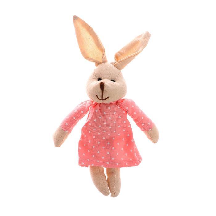 """Мягкая игрушка-подвеска """"Зайка"""" в платье с бантиком, цвета МИКС"""