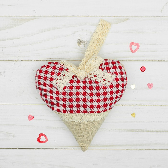 Мягкая игрушка-подвеска «Сердце», с кружевом, цвета МИКС