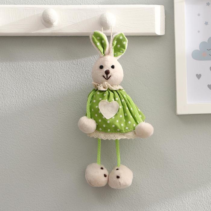 """Мягкая игрушка-подвеска """"Заинька"""" в платье с сердцем, цвета МИКС"""