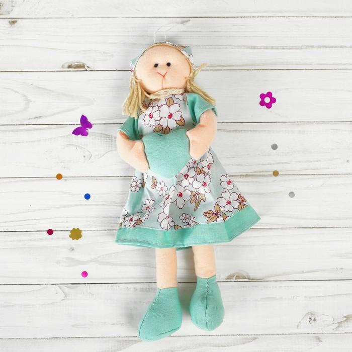 Мягкая игрушка-подвеска «Инна» кукла с сердцем в ручках, платье в цветочек, цвета МИКС
