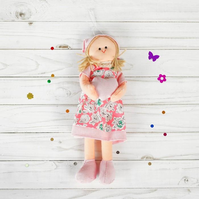 Мягкая игрушка-подвеска «Инна», кукла с сердцем в ручках, в платочке, цвета МИКС
