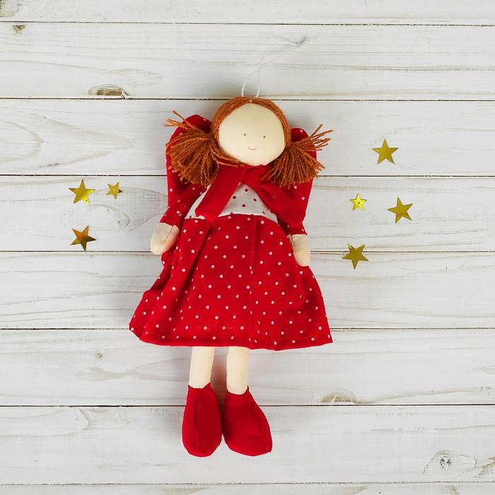 Мягкая игрушка-подвеска «Ангел», кукла в платье, в горошек, цвета МИКС