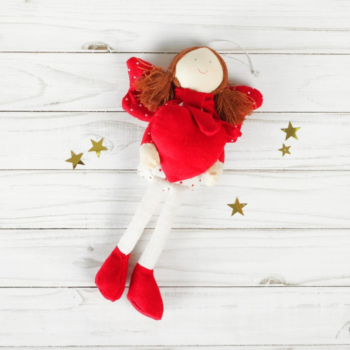 Мягкая игрушка-подвеска «Ангел», крылья в горошек, сердце в ручках, цвета МИКС