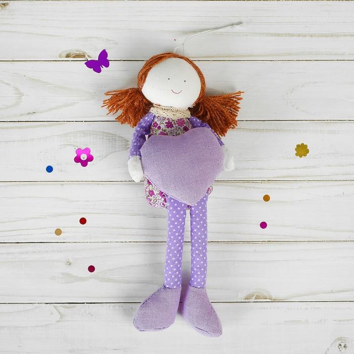 Мягкая игрушка-подвеска «Девочка», кукла, ножки и ручки в горошек, цвета МИКС