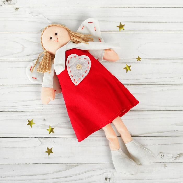 Мягкая игрушка-подвеска «Ангел», кукла, стежки на крыльях, цвета МИКС