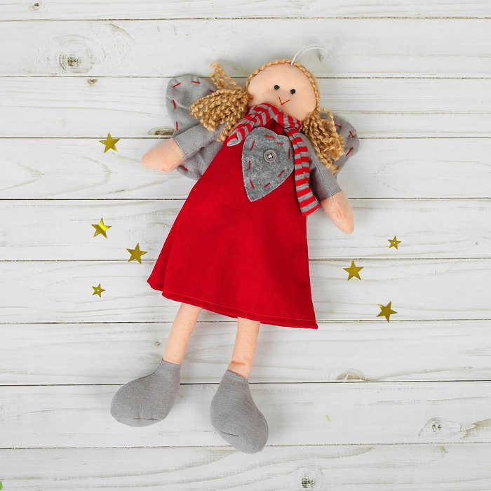 Мягкая игрушка-подвеска «Ангел», кукла, полосатый шарфик, цвета МИКС