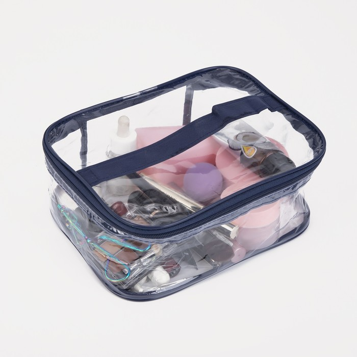 Косметичка ПВХ, отдел на молнии, цвет синий