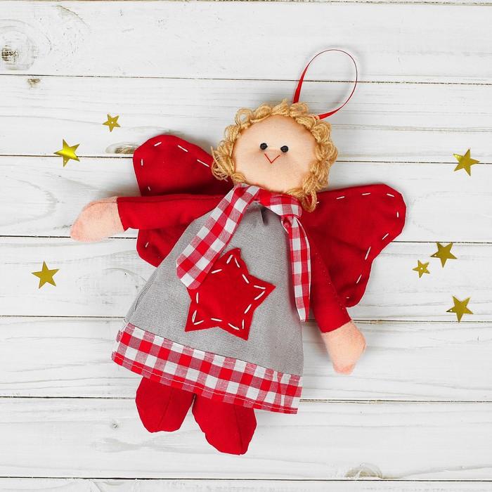 Мягкая игрушка-подвеска «Ангел», кукла, серые крылья, цвета МИКС
