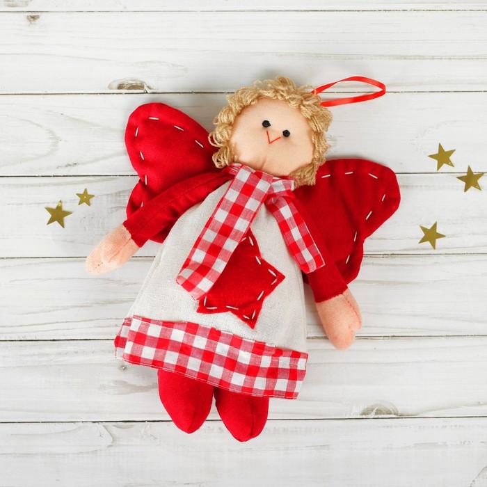 Мягкая игрушка-подвеска «Ангел», кукла с шарфиком, звезда на платье, цвета МИКС