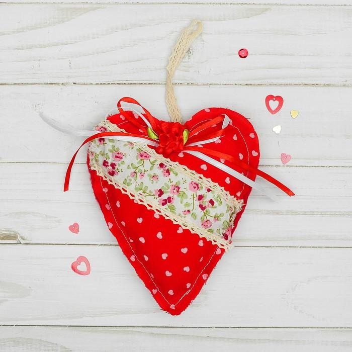 Мягкая игрушка-подвеска «Сердце», с кружевом и цветочком, цвета МИКС
