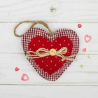 """Toy pendant """"Double heart"""" ribbon with button, MIX color"""