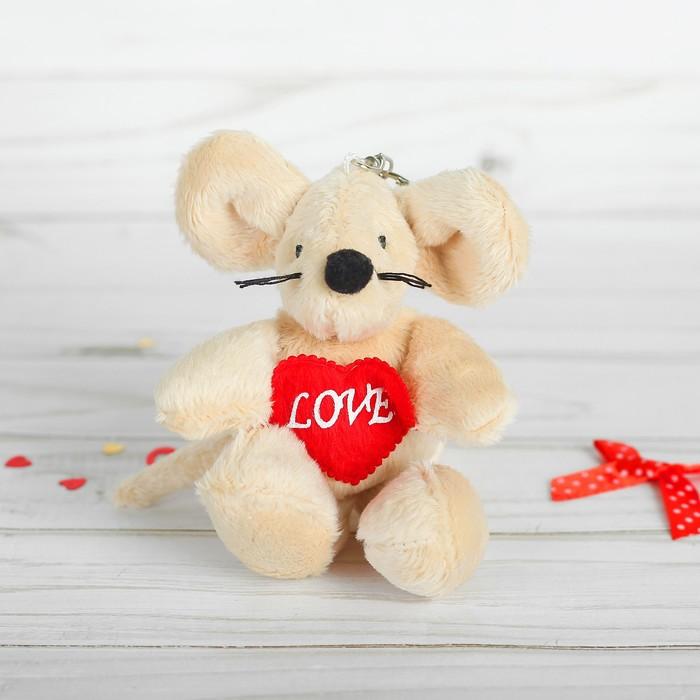 """Мягкая игрушка-брелок """"Мышка"""" с красным сердцем, цвета МИКС"""