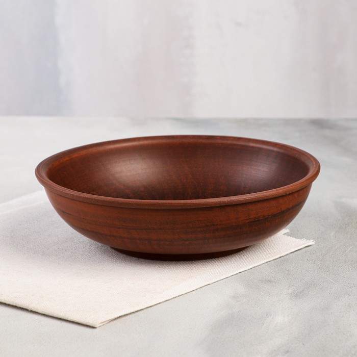 Миска глубокая, красная глина, 1 л - фото 8443987