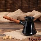 Турка Coffee, с деревянной ручкой, цвет черный, глазурь, деколь, 0.4 л