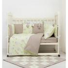 Комплект в кроватку ПРЕМИУМ Совята, 22 предмета, цв  салатовый/шоколад, бязь