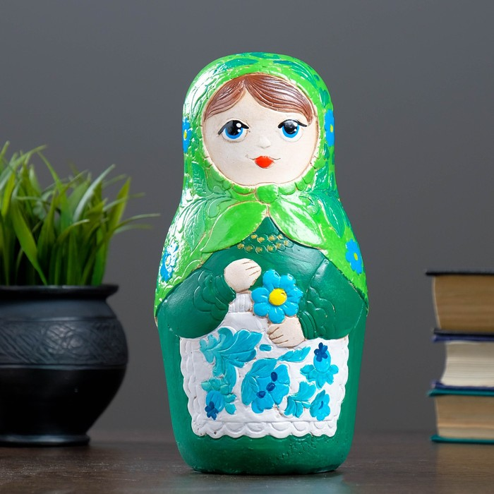 "Копилка ""Матрешка"" 22см зелёная"