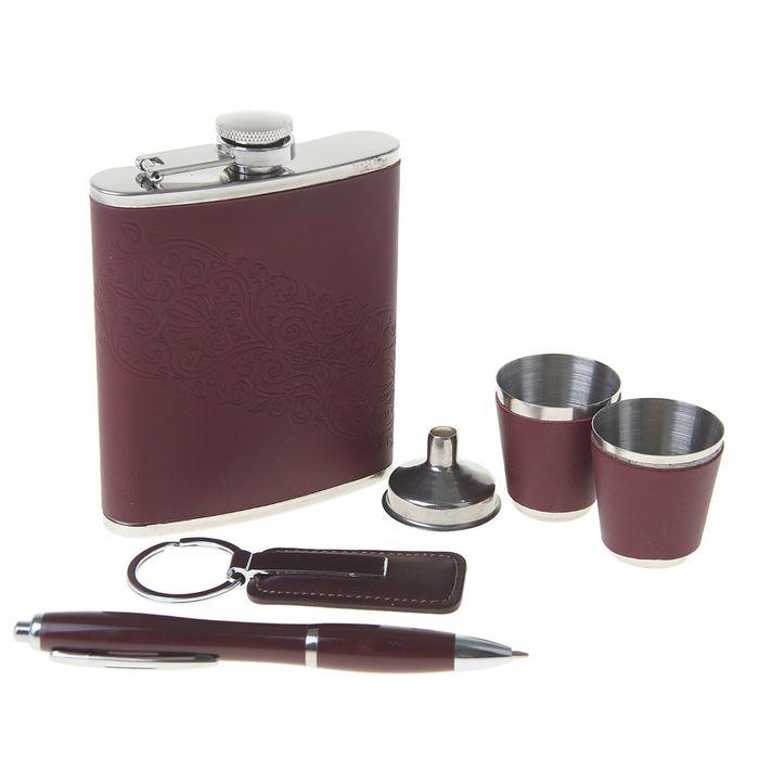 """Подарочный набор 6 в 1 """"Кружево"""": фляжка 240 мл + 2 рюмки, брелок, воронка, ручка"""