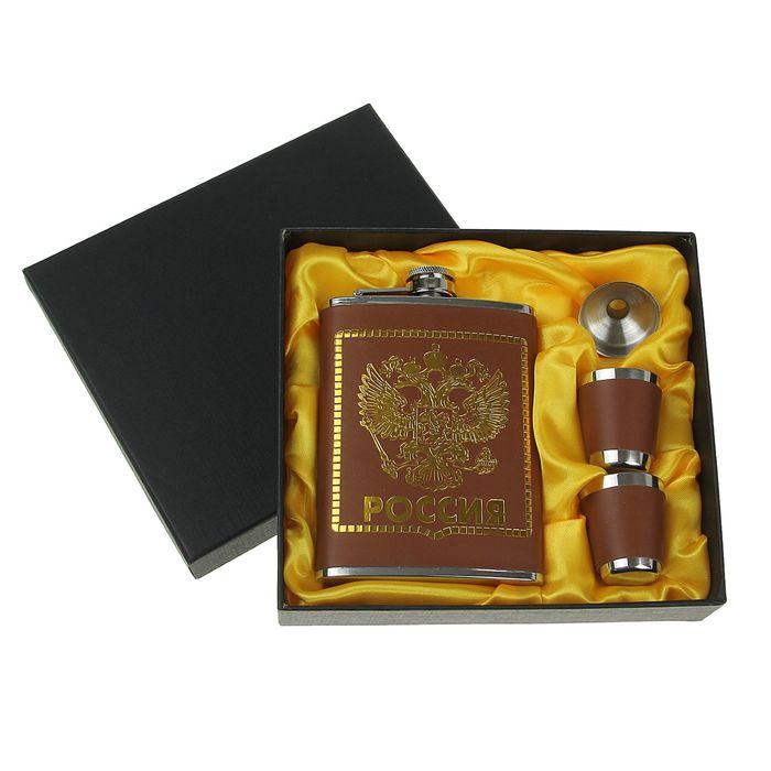 """Подарочный набор """"Двуглавый орёл"""" 4 в 1: фляжка 240 мл, воронка, 2 рюмки, коричневая, 17х19 с"""