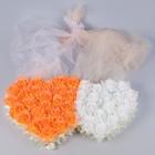 Набор сердец на решетку рад-ра с цветами+двойная фата по капоту+бант на зеркало персиковый