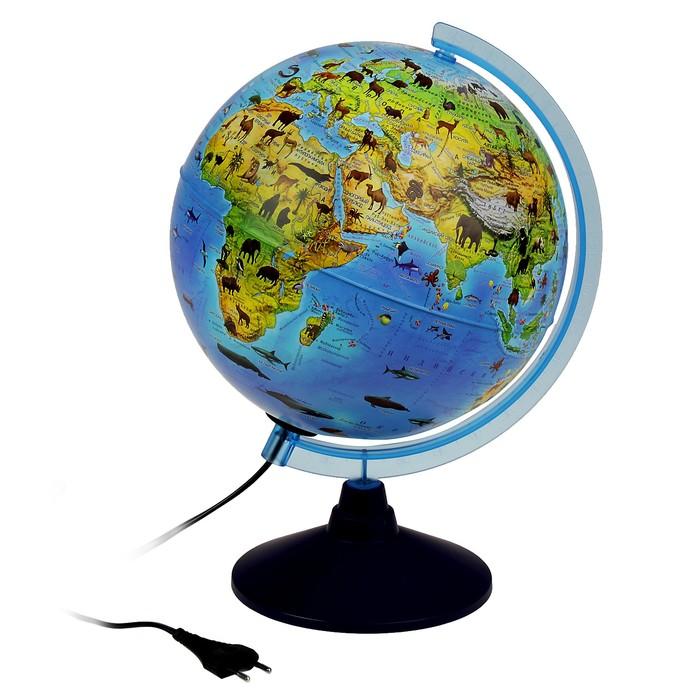 Глoбус зоогеографический, детский «Классик Евро», диаметр 250 мм, с подсветкой