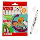 Фломастеры утолщенные двухсторонние 8 цветов Mattel Jumbo Fisher Price, со штампами