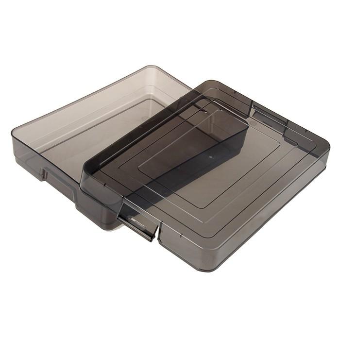 Контейнер для документов А4, с защёлками, 260 х 350 х 65 мм, тонированный серый