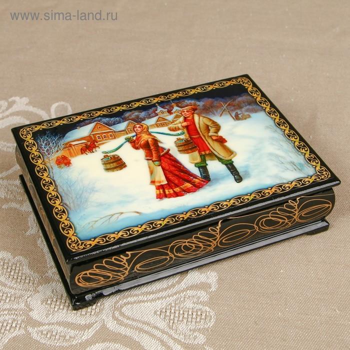 Шкатулка «Жанровая композиция 3», лаковая миниатюра, 10х14 см