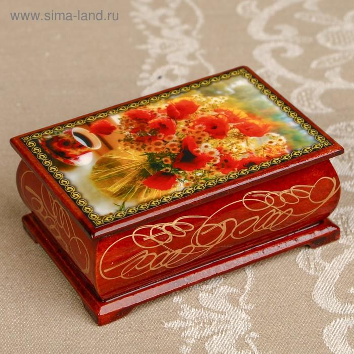 Шкатулка «Цветы 12», лаковая миниатюра, 6х9 см